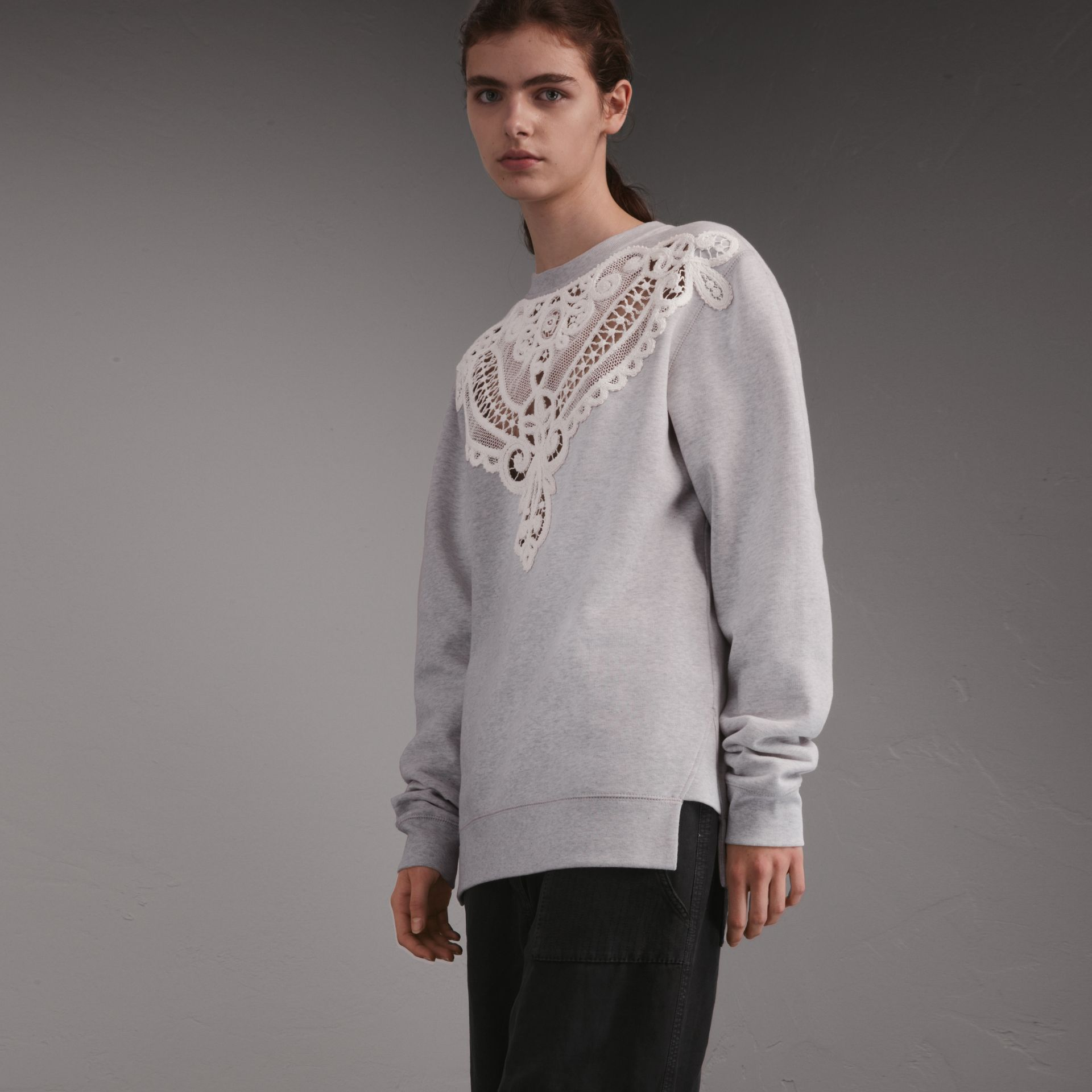 Unisex Lace Cutwork Sweatshirt in Light Grey Melange - Women | Burberry Singapore - gallery image 1