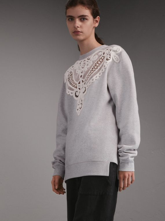 Unisex Brushed-back Jersey Sweatshirt with Lace Cutwork