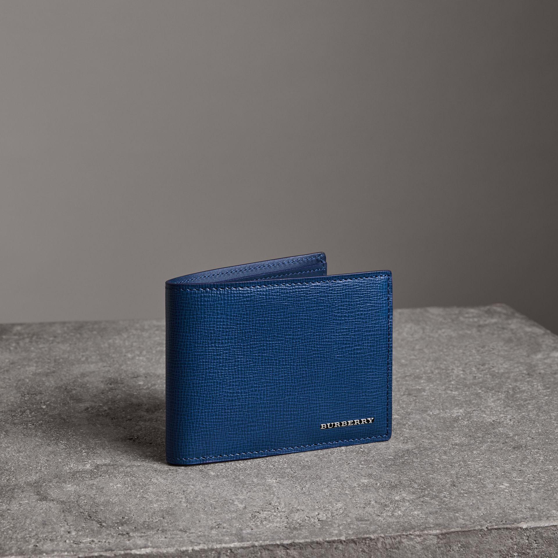 London Leather Bifold Wallet in Deep Blue - Men | Burberry United States - gallery image 0