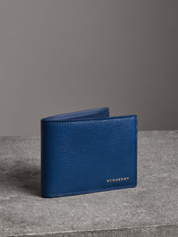 London Leather Bifold Wallet in Deep Blue