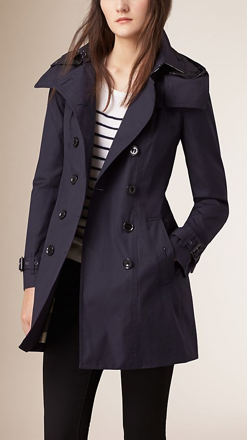 hooded trench coat with warmer navy burberry. Black Bedroom Furniture Sets. Home Design Ideas