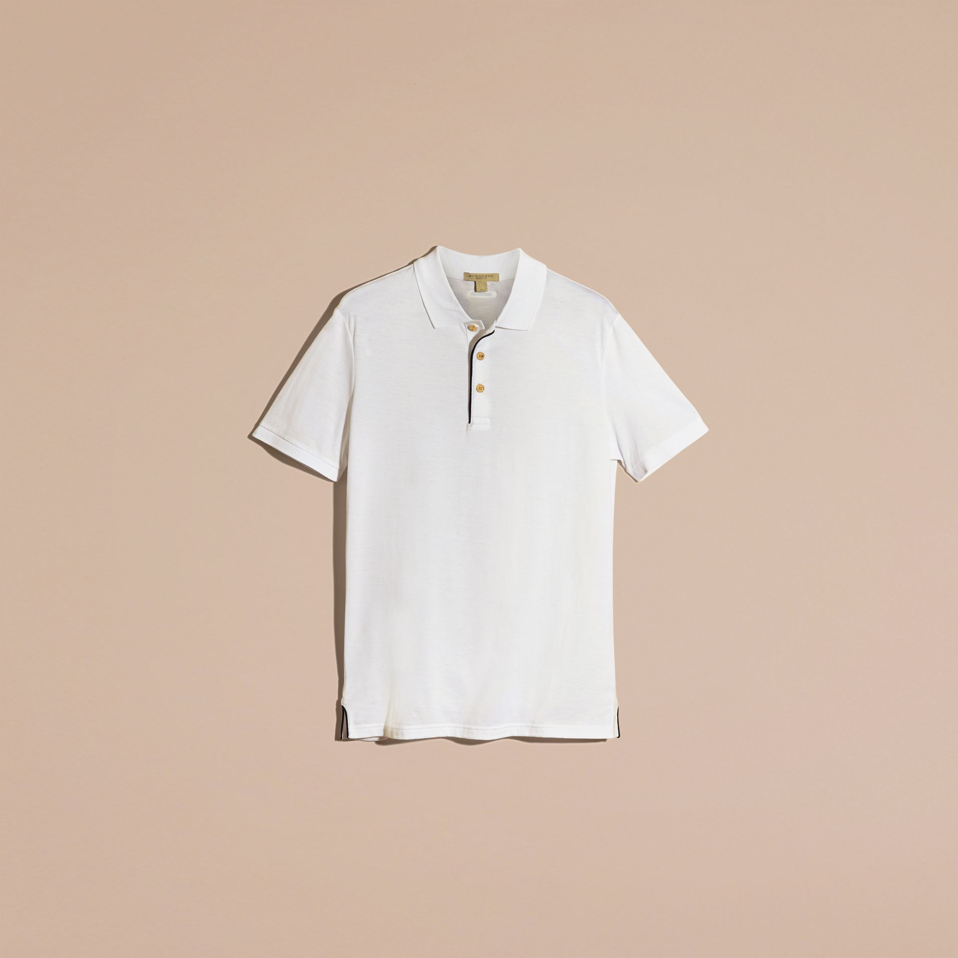 White Regimental Cotton Polo Shirt White - gallery image 4
