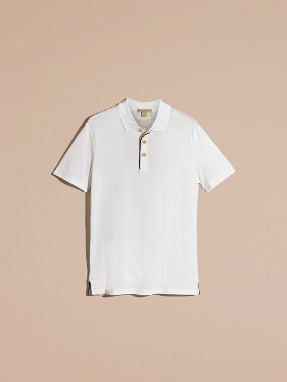 White Regimental Cotton Polo Shirt White - cell image 3