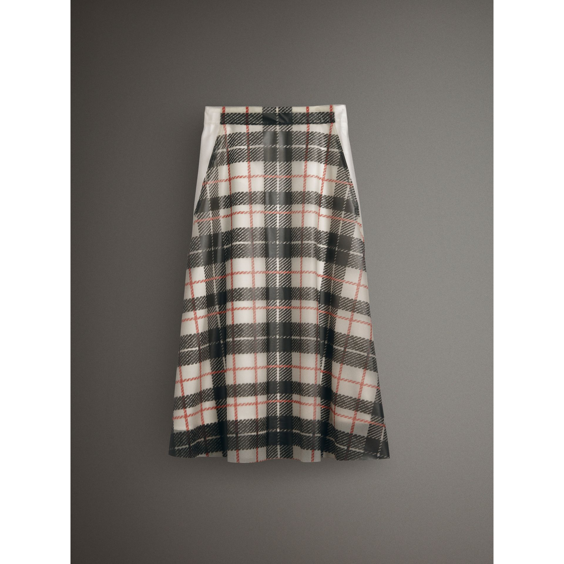 Silk-lined Tartan Plastic A-line Skirt in Black/beige - Women | Burberry United Kingdom - gallery image 3
