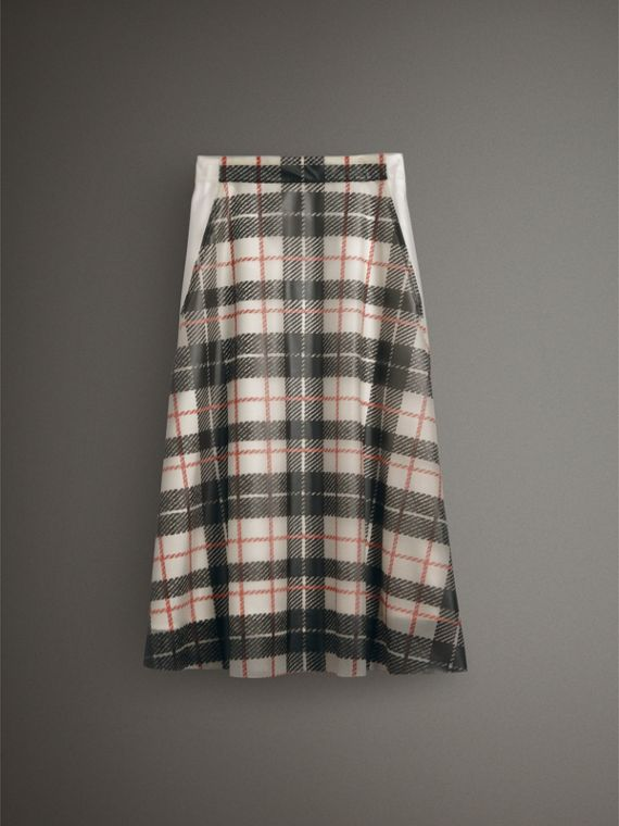 Silk-lined Tartan Plastic A-line Skirt in Black/beige - Women | Burberry United Kingdom - cell image 3