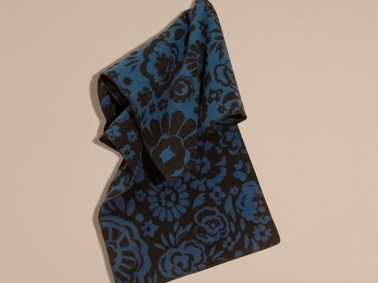 Marine blue Floral Jacquard Wool Cashmere Poncho - cell image 1