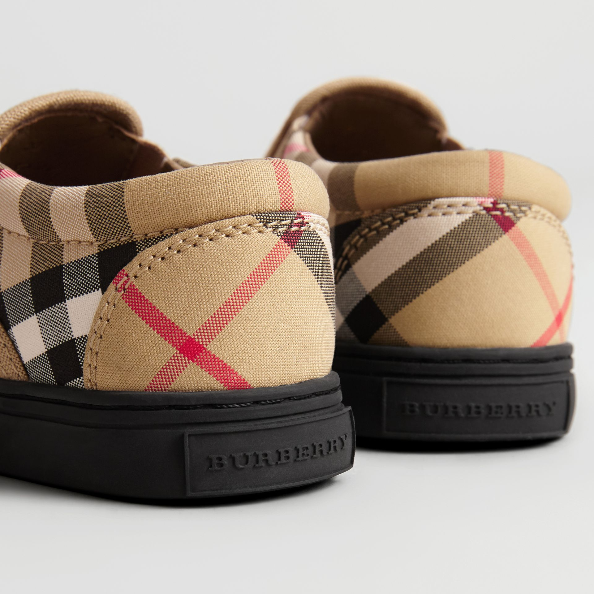 Vintage Check and Leather Slip-on Sneakers in Antique Yellow/black - Children | Burberry Canada - gallery image 1