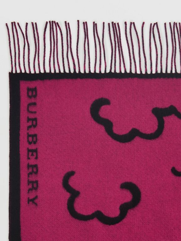 London Street Art Wool Cashmere Jacquard Scarf in Plum Pink | Burberry - cell image 1