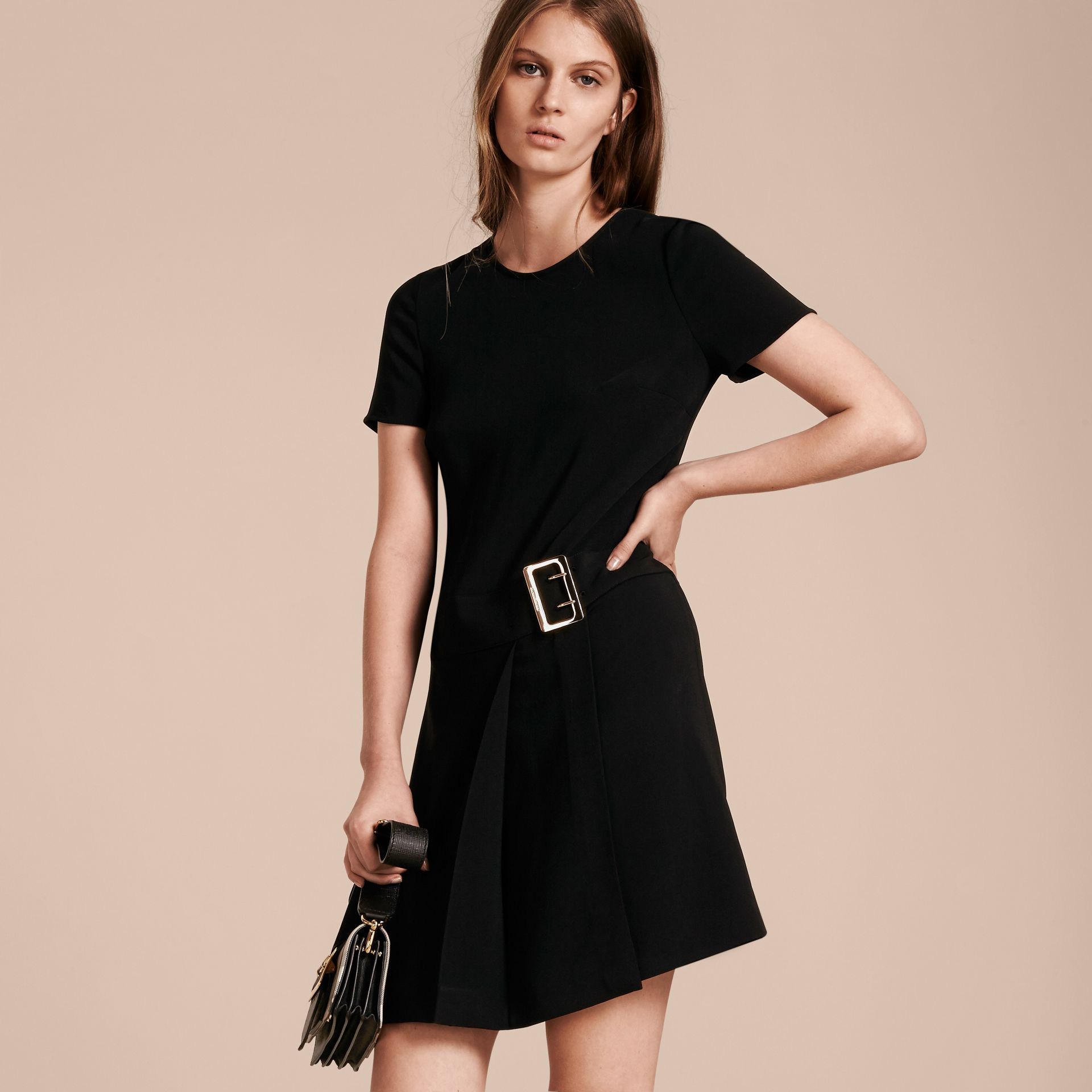 Buckle Detail Pleated Shift Dress in Black - gallery image 6