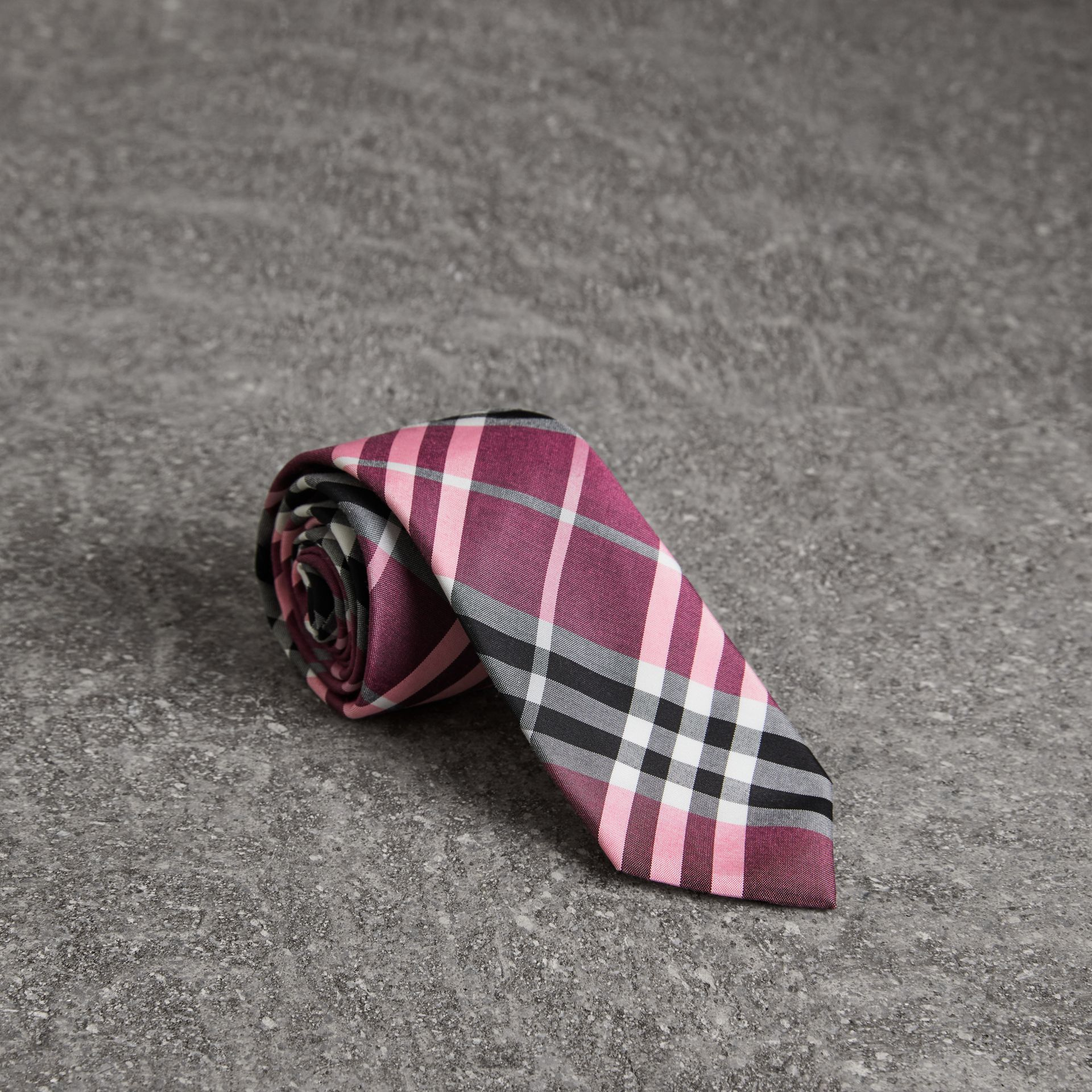 Modern Cut Check Silk Tie in Rose Pink - Men | Burberry - gallery image 0