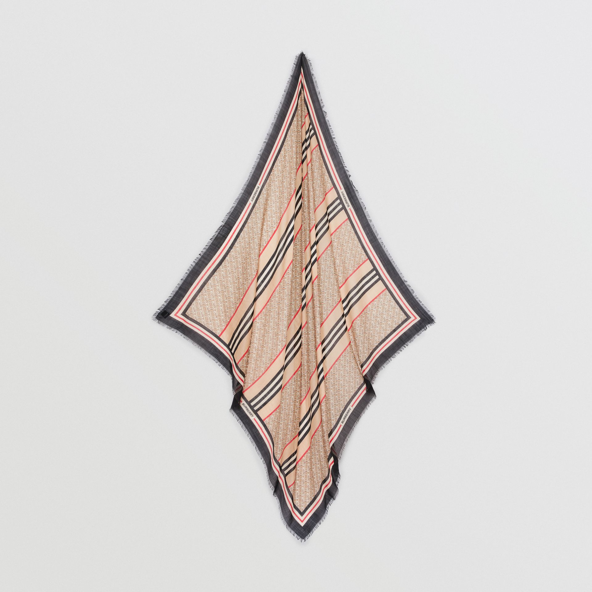 Icon Stripe Monogram Print Wool Silk Square Large Scarf in Archive Beige | Burberry Australia - gallery image 4