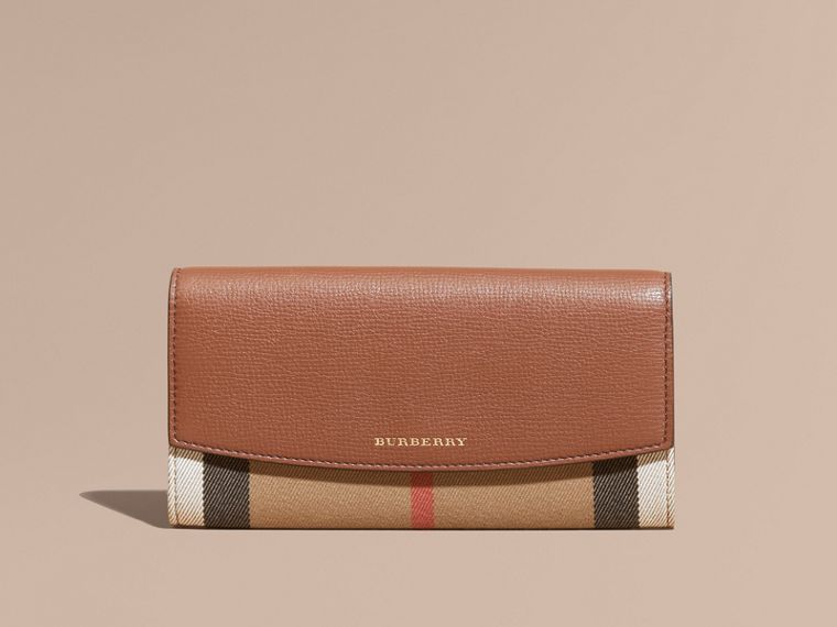 Tan House Check And Leather Continental Wallet Tan - cell image 1