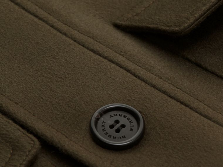 Dark green Shearling Topcollar Cashmere Field Jacket - cell image 1