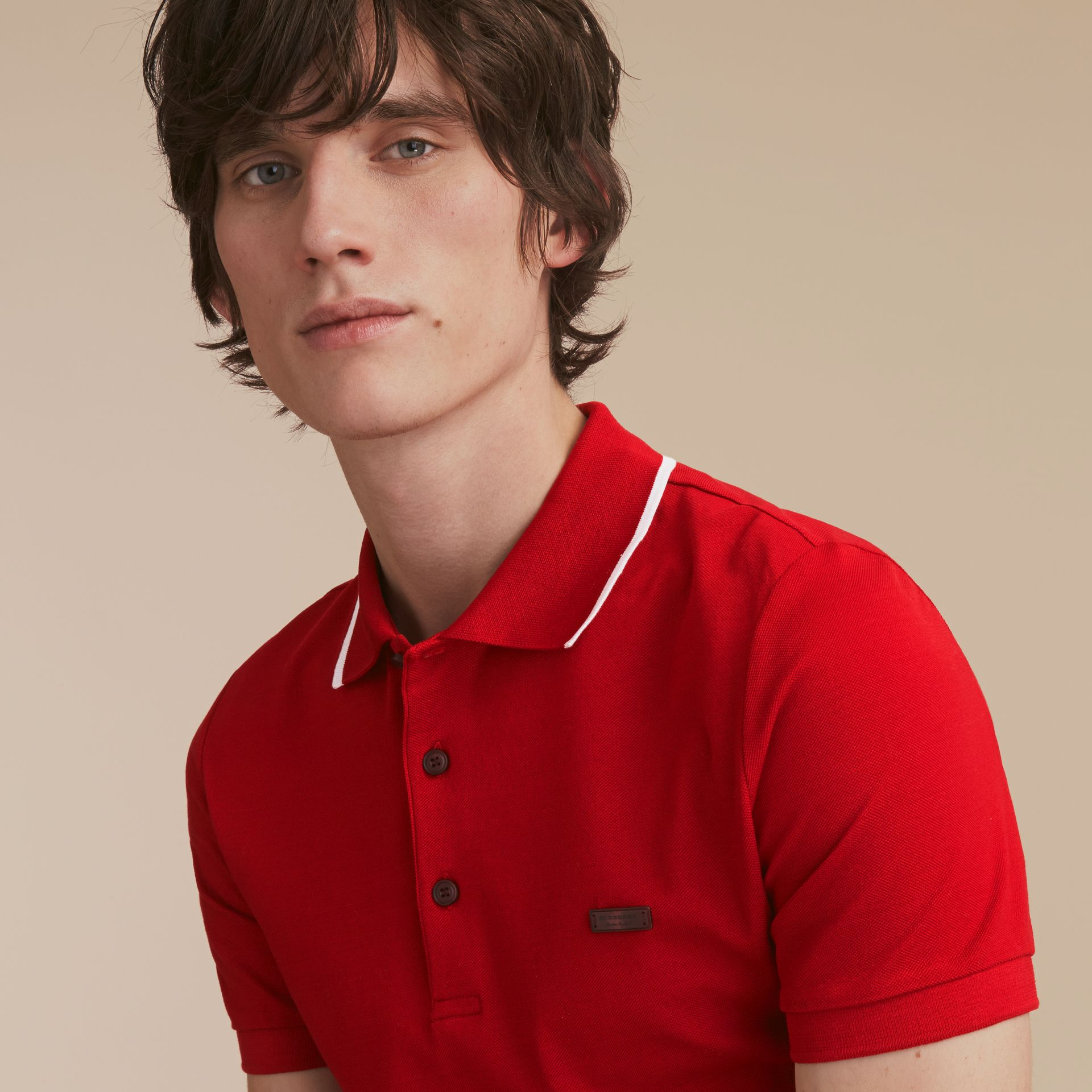 Tipped Collar Cotton Piqué Polo Shirt Military Red - gallery image 5