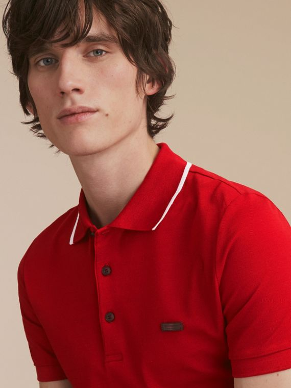 Tipped Cotton Piqué Polo Shirt Military Red