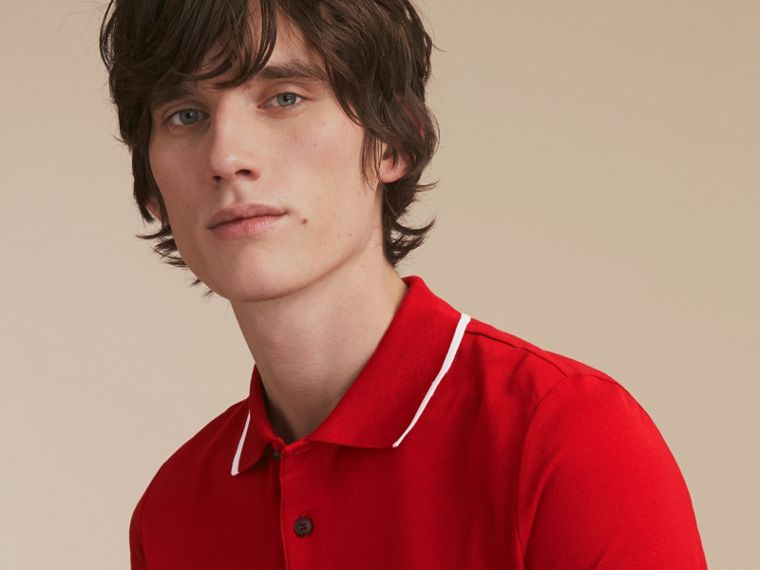Tipped Collar Cotton Piqué Polo Shirt Military Red - cell image 4