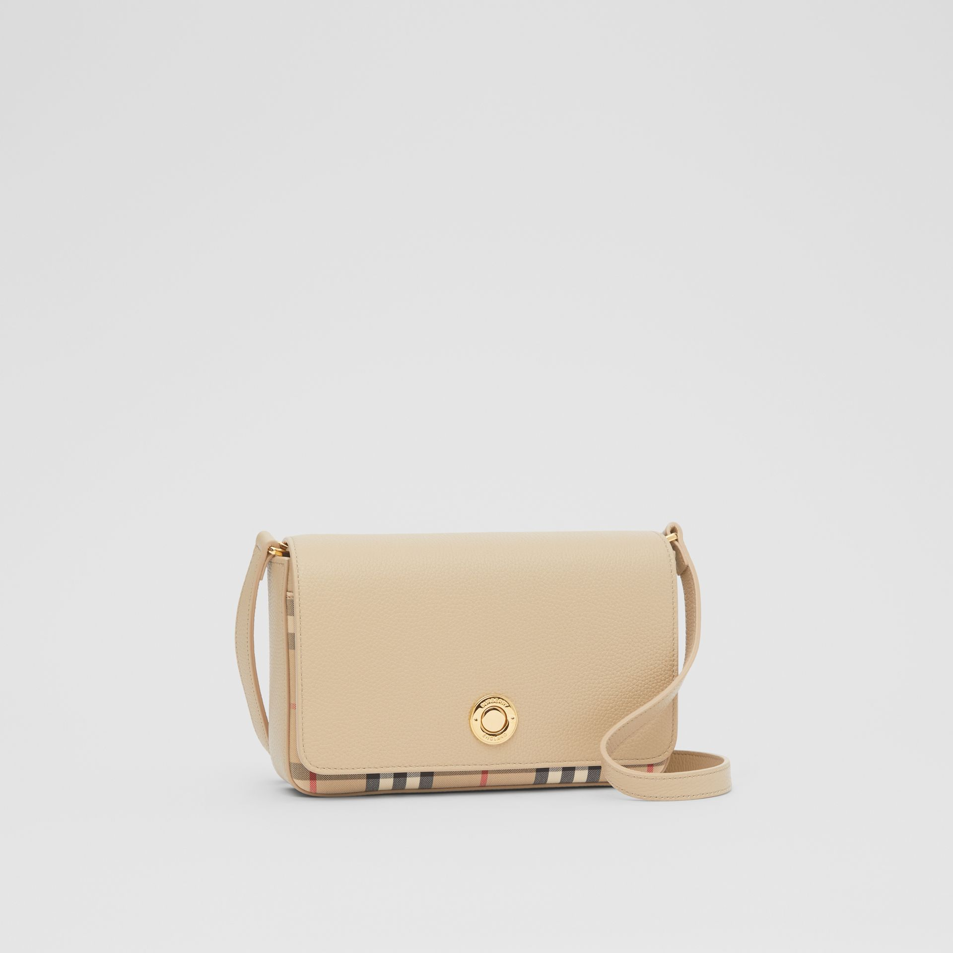 Small Leather and Vintage Check Crossbody Bag in Light Beige - Women | Burberry United Kingdom - gallery image 4