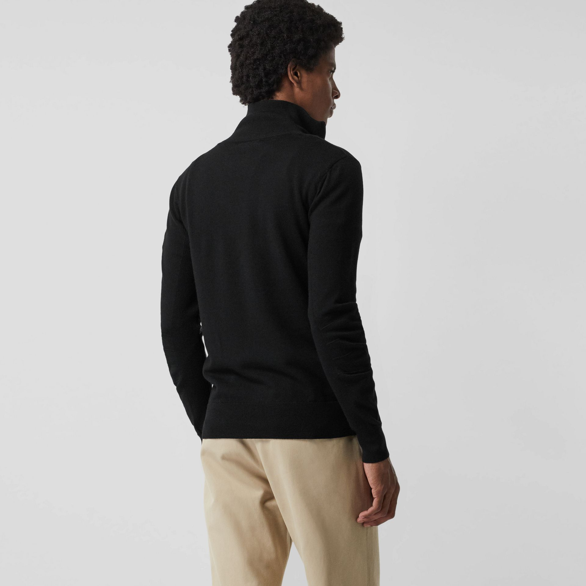 Merino Wool Half-zip Sweater in Black - Men | Burberry Australia - gallery image 3