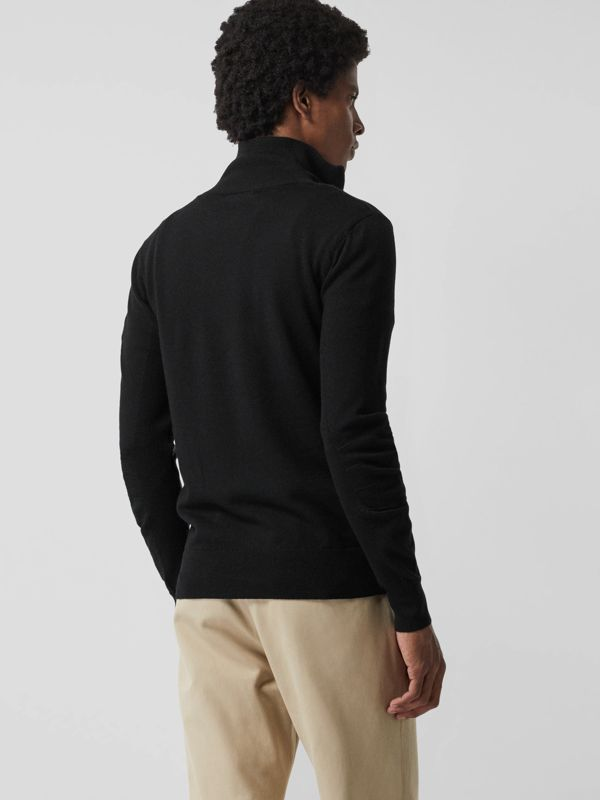 Merino Wool Half-zip Sweater in Black - Men | Burberry Australia - cell image 3
