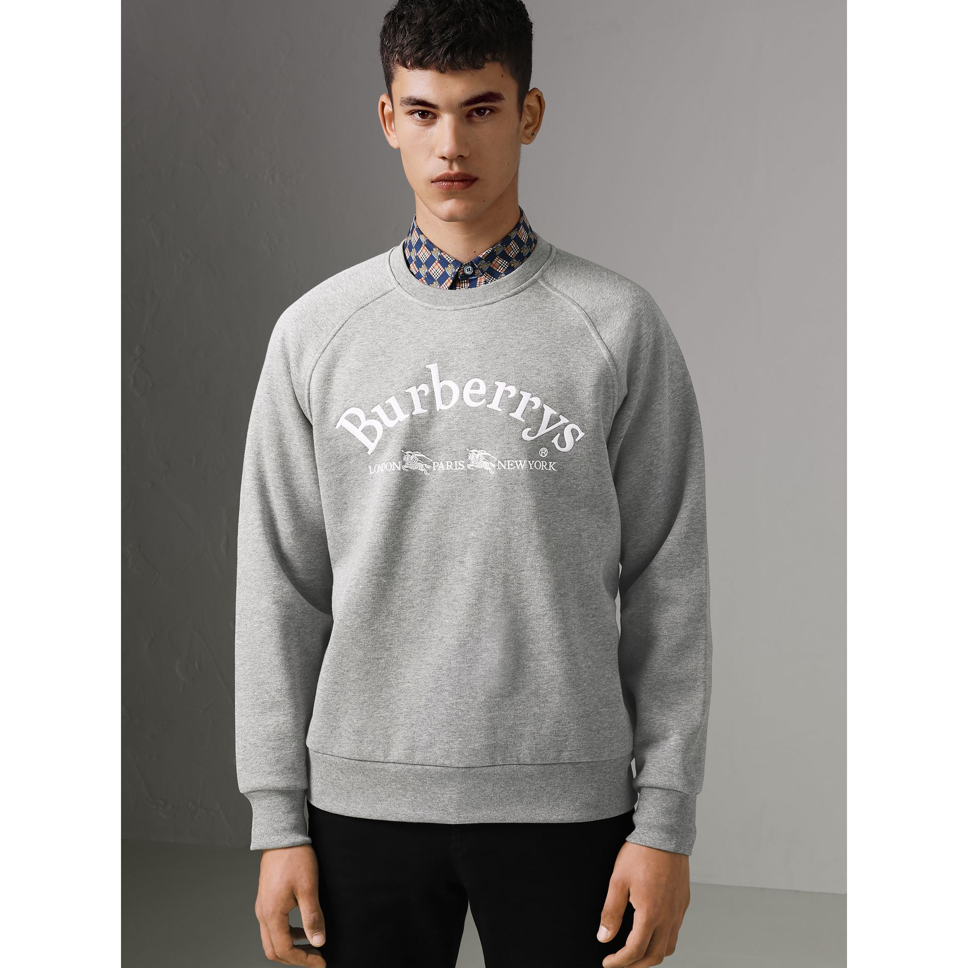 Embroidered Archive Logo Jersey Sweatshirt in Pale Grey Melange - Men | Burberry United Kingdom - gallery image 3
