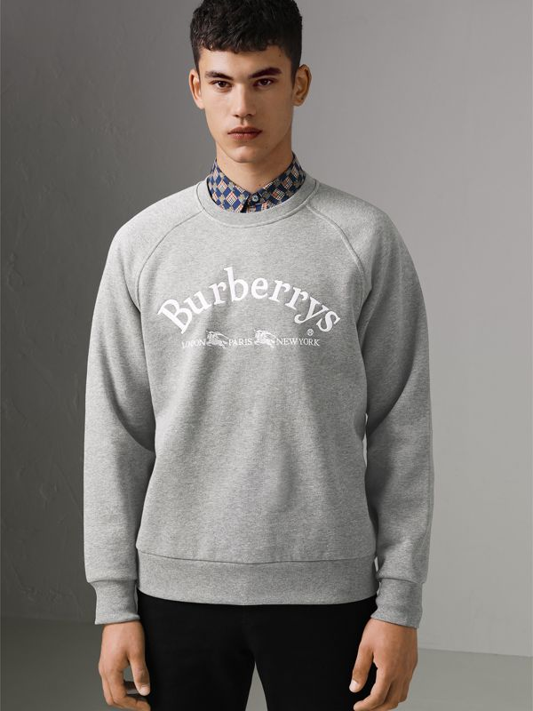 Embroidered Archive Logo Jersey Sweatshirt in Pale Grey Melange - Men | Burberry - cell image 3