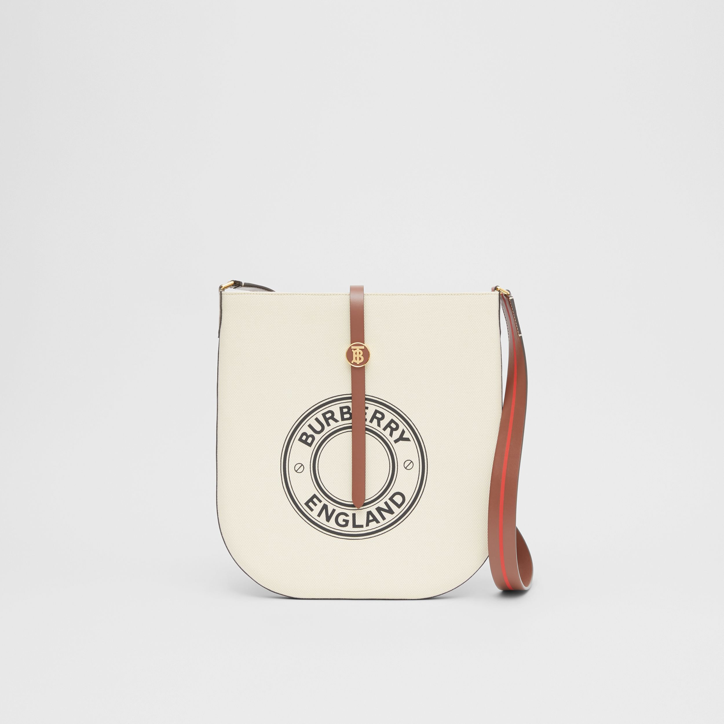 Logo Graphic Cotton Canvas and Leather Anne Bag in Natural/tan - Women | Burberry - 1