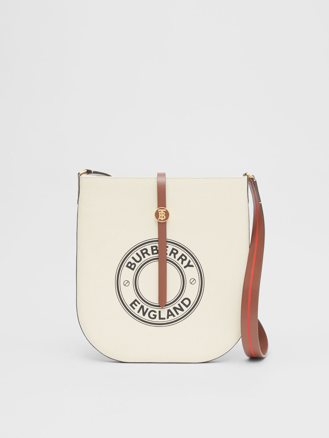 Logo Graphic Cotton Canvas and Leather Anne Bag in Natural/tan