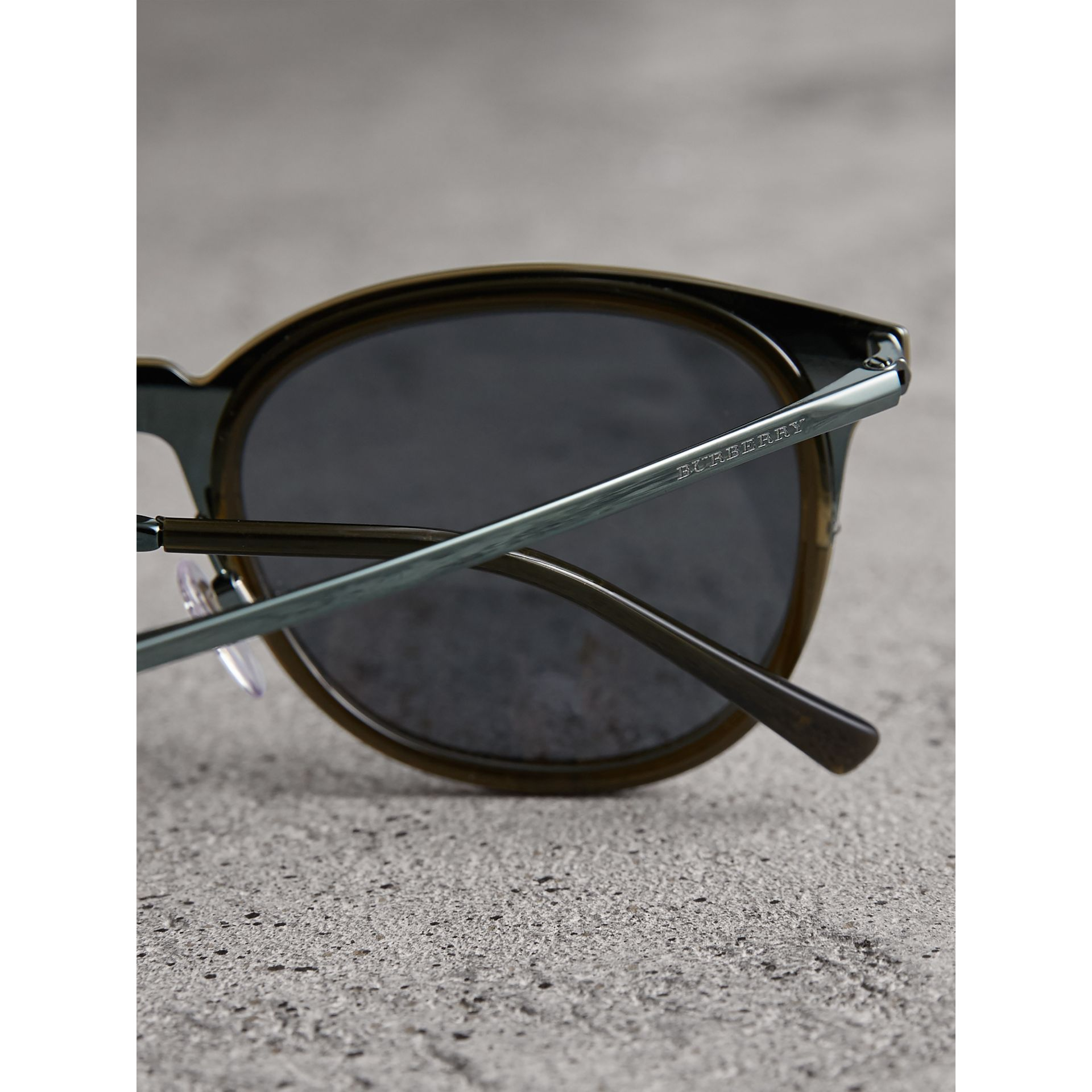 Round Frame Sunglasses in Dark Olive - Men | Burberry Singapore - gallery image 1