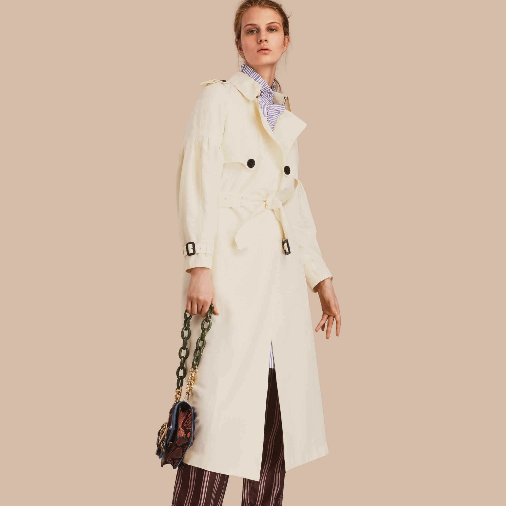 Oversize Silk Trench Coat with Puff Sleeves in Parchment - gallery image 1