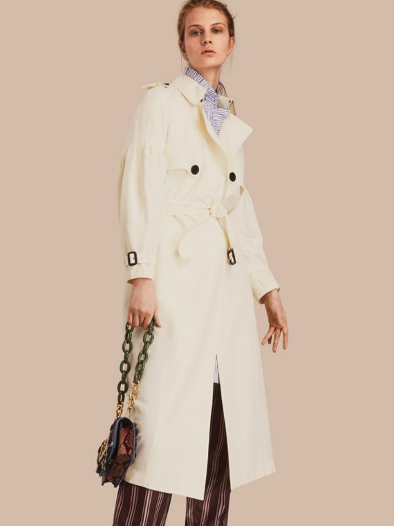 Oversize Silk Trench Coat with Puff Sleeves in Parchment