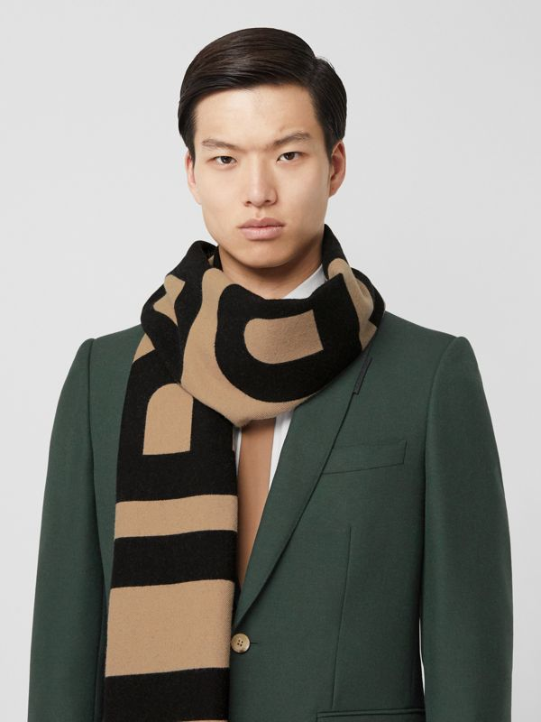 Logo Wool Jacquard Scarf in Archive Beige | Burberry - cell image 3