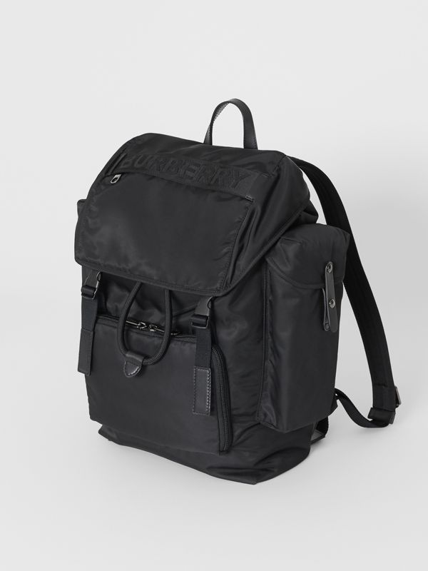 Medium Leather Trim Nylon Backpack in Black | Burberry - cell image 2