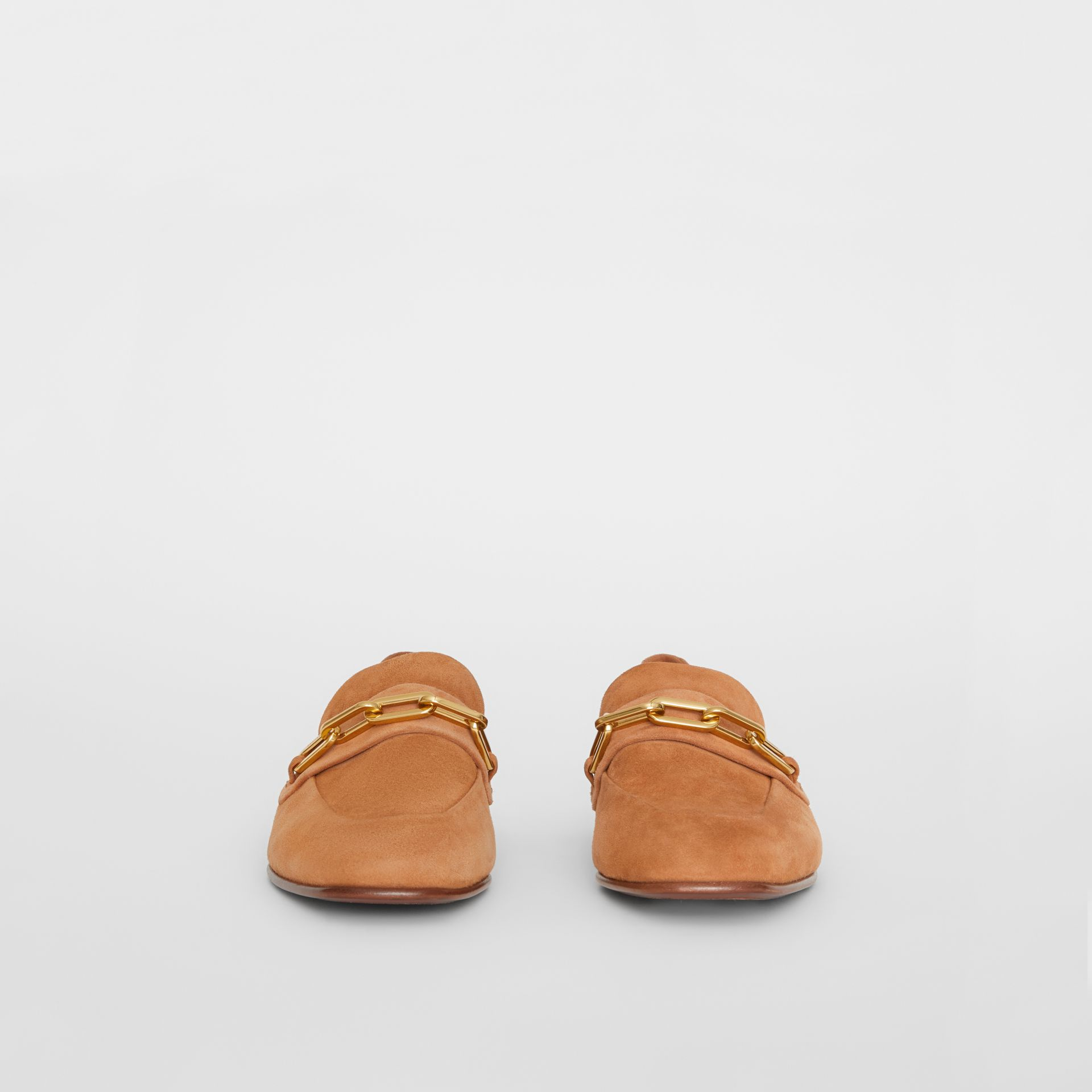 Link Detail Suede Loafers in Mid Camel - Women | Burberry - gallery image 3