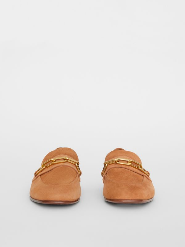 Link Detail Suede Loafers in Mid Camel - Women | Burberry - cell image 3