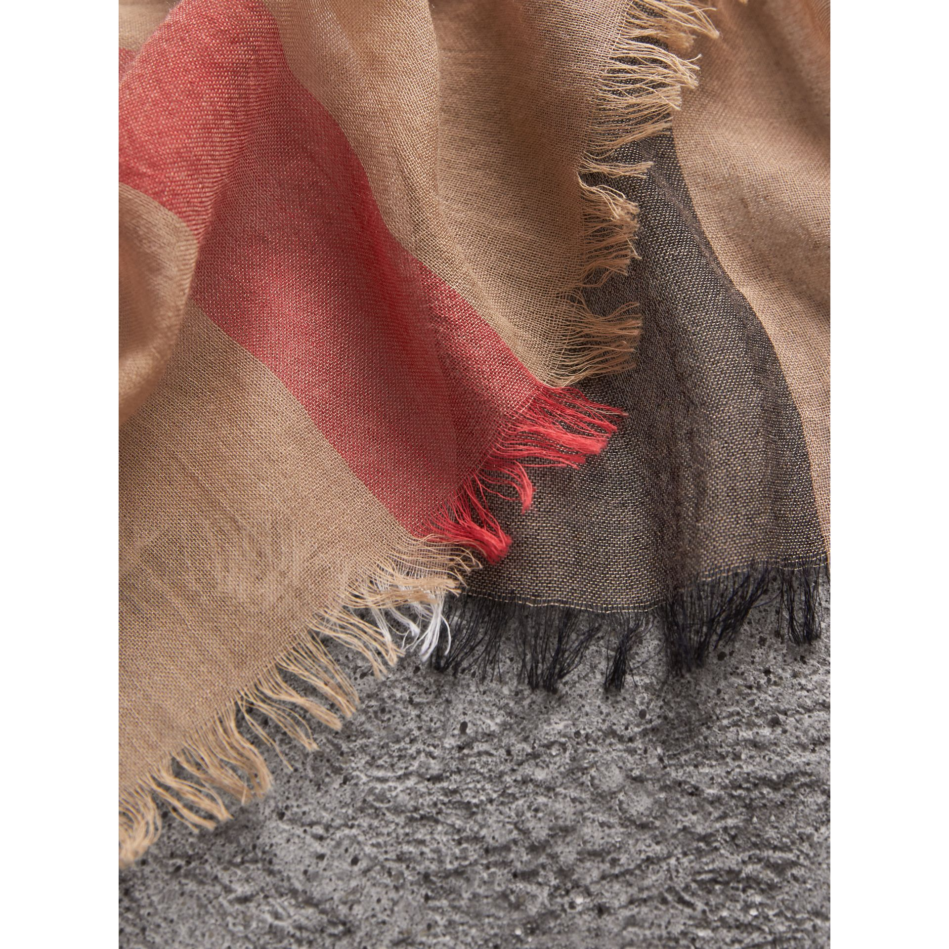 Check Modal Cashmere and Silk Scarf in Camel | Burberry Canada - gallery image 2