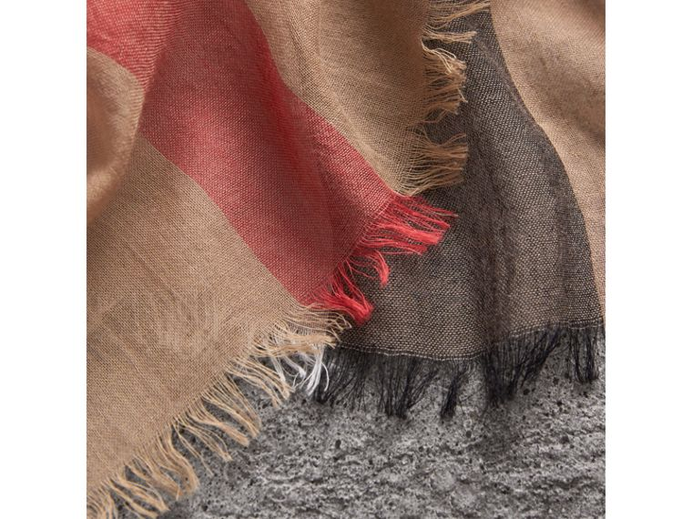 Check Modal Cashmere and Silk Scarf in Camel | Burberry - cell image 1