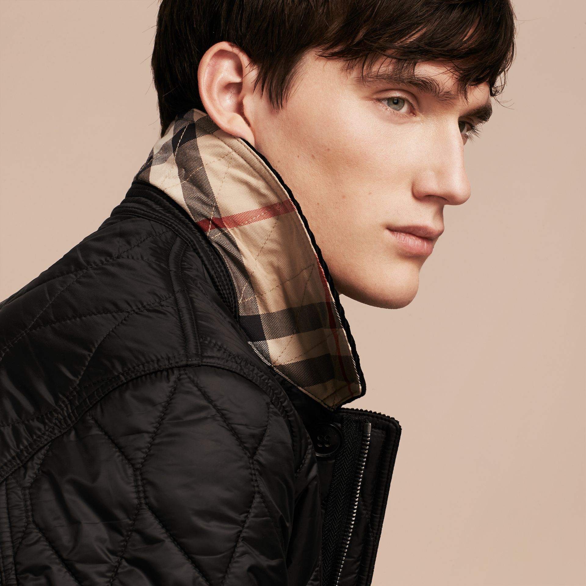 Black Check Detail Quilted Jacket with Corduroy Collar - gallery image 5