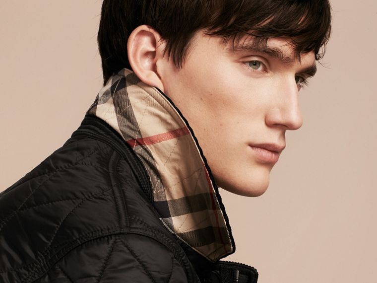 Black Check Detail Quilted Jacket with Corduroy Collar - cell image 4