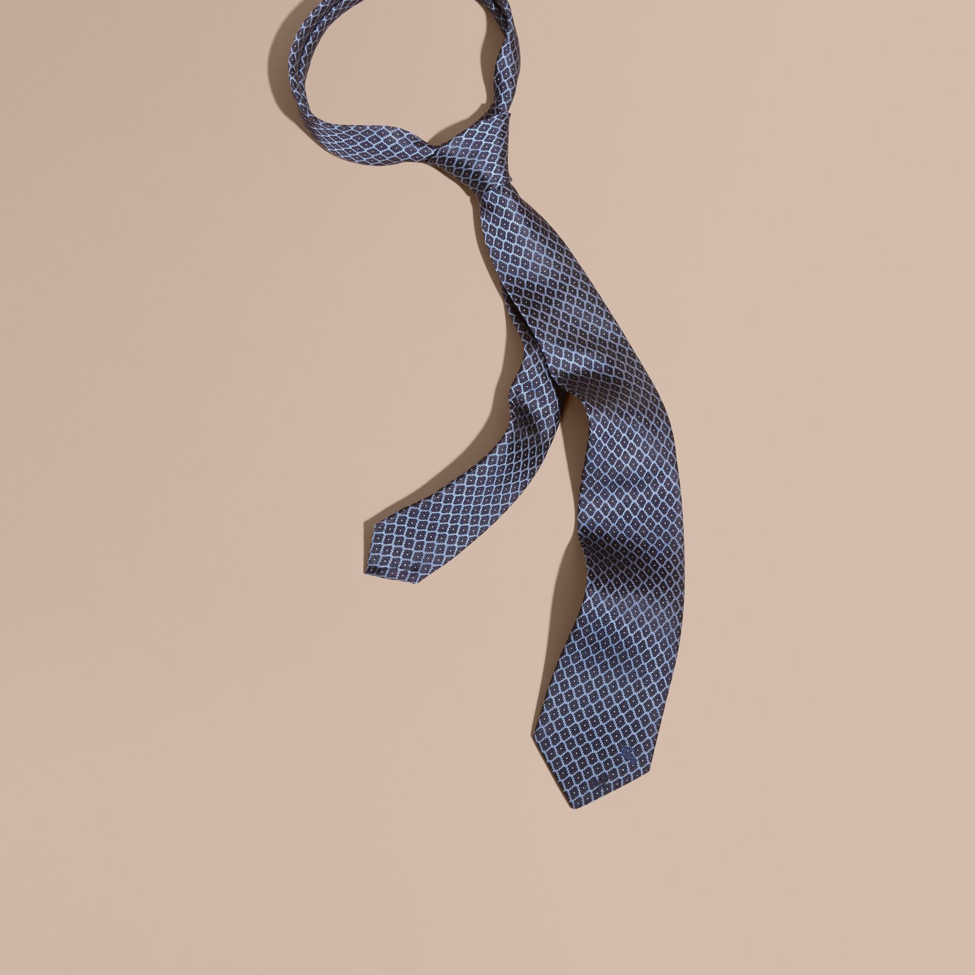 Navy/mineral blue Modern Cut Silk Jacquard Tie Navy/mineral Blue - gallery image 1