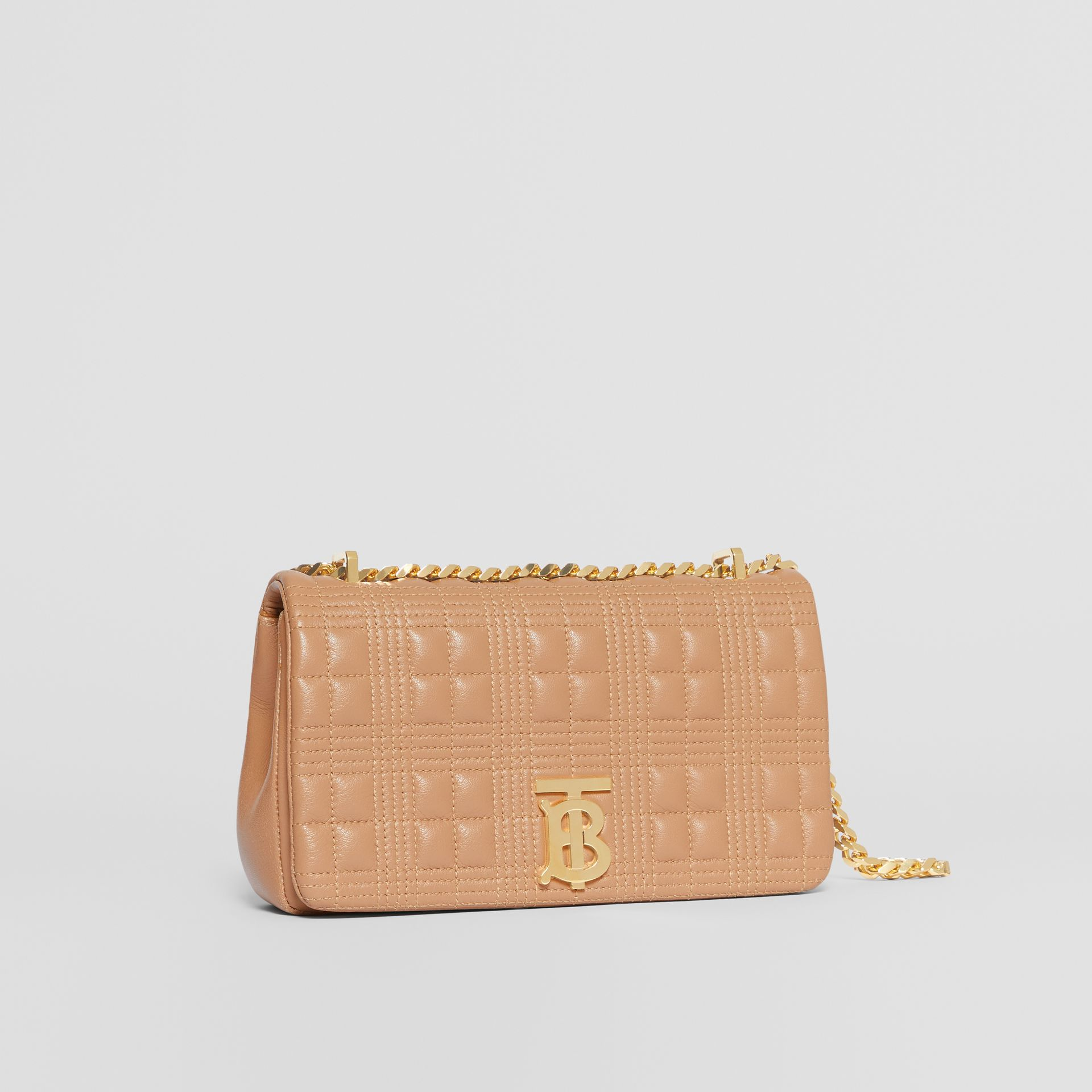 Small Quilted Check Lambskin Lola Bag in Camel | Burberry - gallery image 4