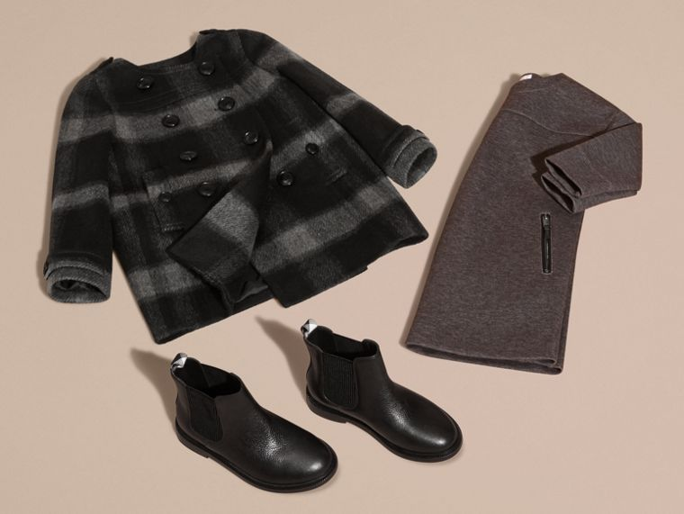Dark charcoal Check Wool Blend Collarless Coat - cell image 4