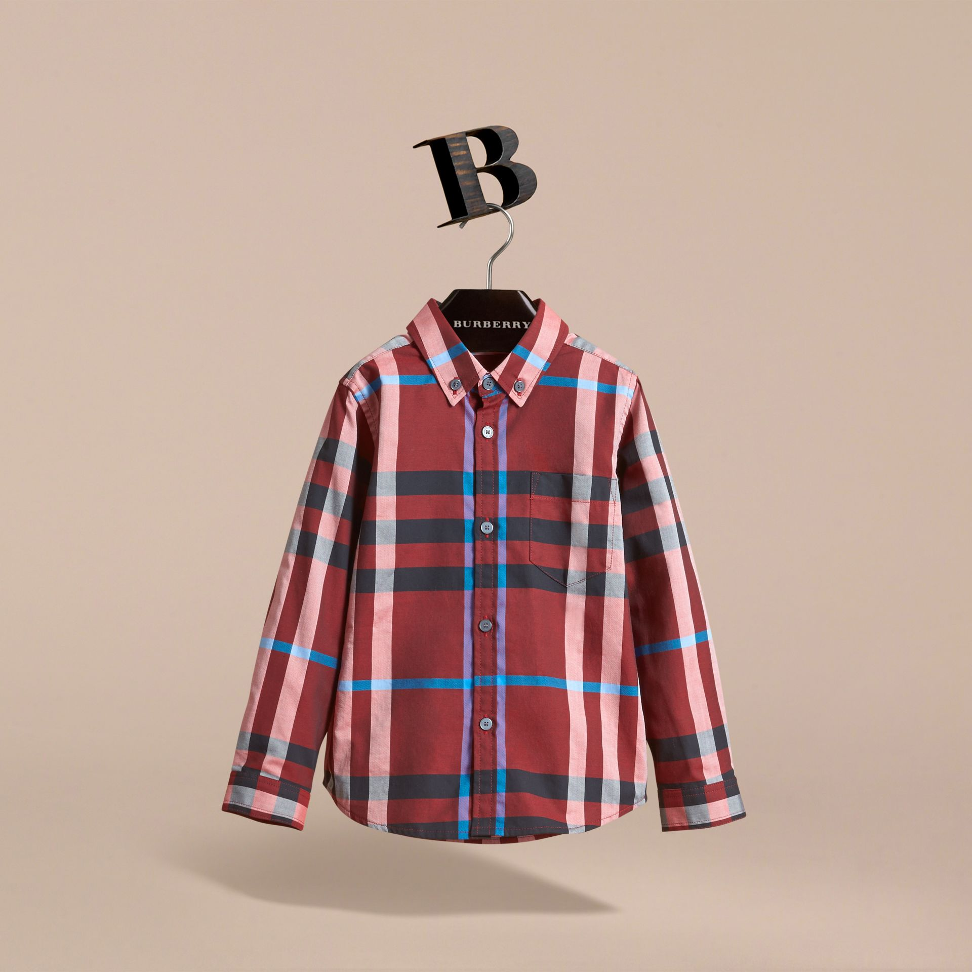 Check Cotton Button-Down Shirt in Carmine Red - Boy | Burberry Canada - gallery image 3