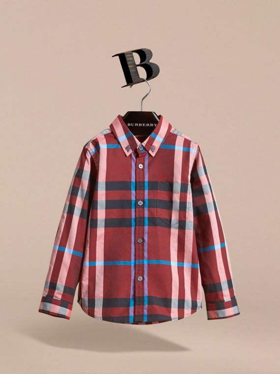 Check Cotton Button-Down Shirt in Carmine Red - Boy | Burberry Canada - cell image 2