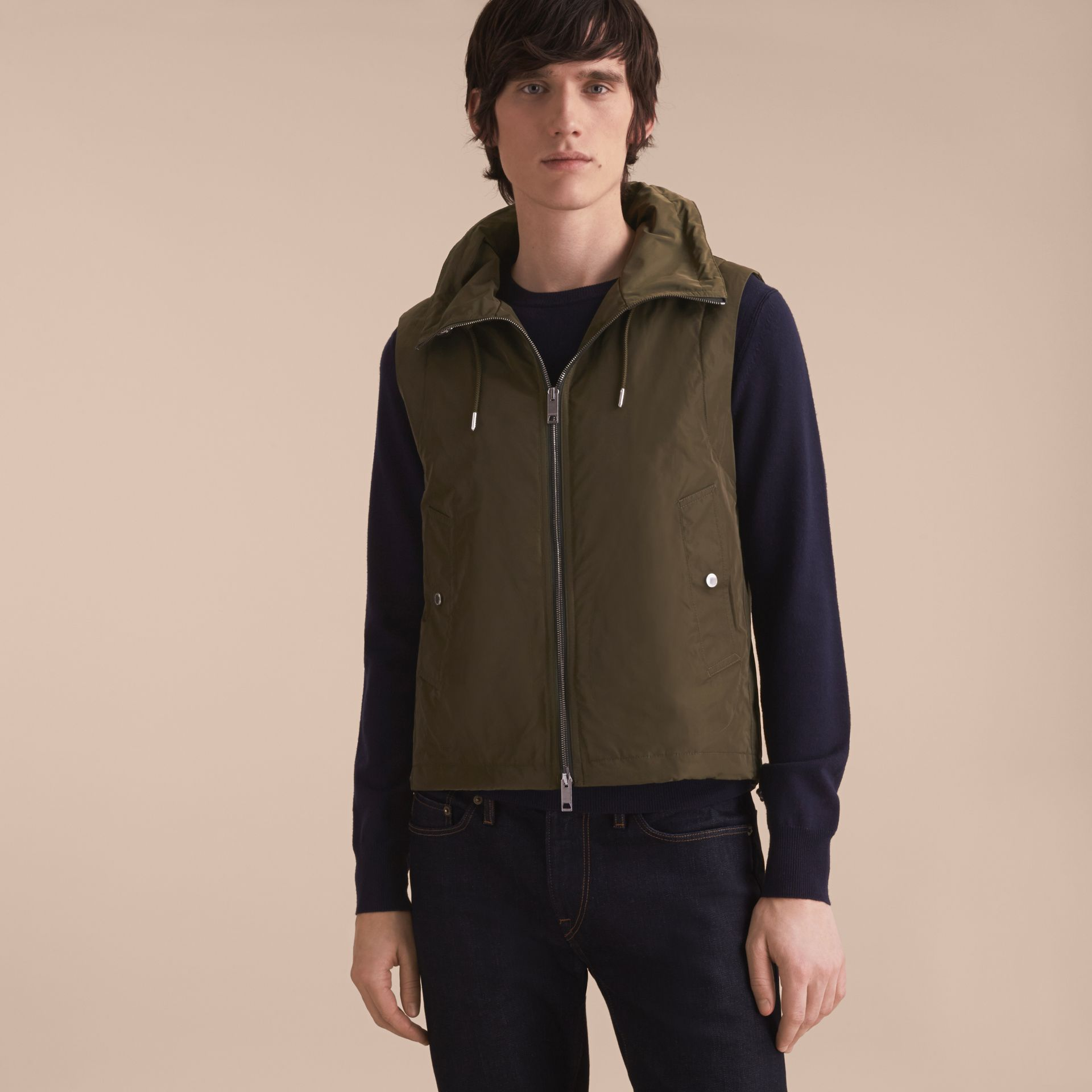 Lightweight Cotton Car Coat with Detachable Gilet Stone - gallery image 3