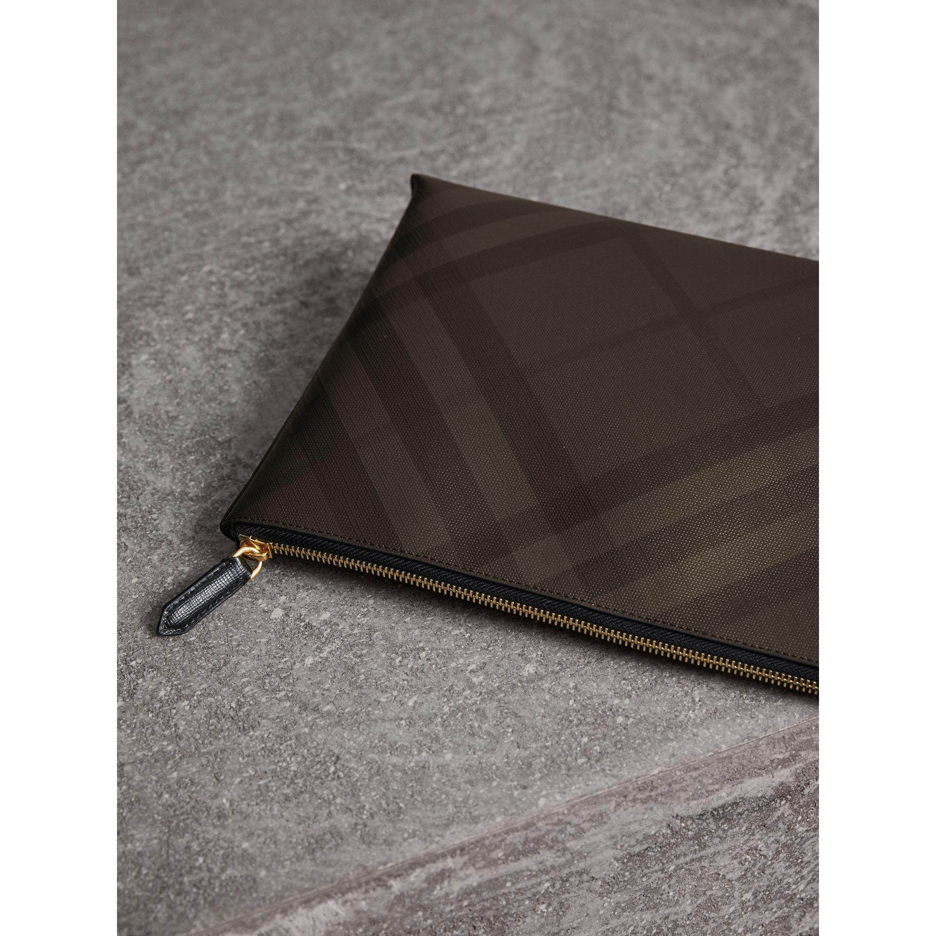 Large London Check Zip Pouch in Chocolate/black - Men | Burberry - gallery image 3