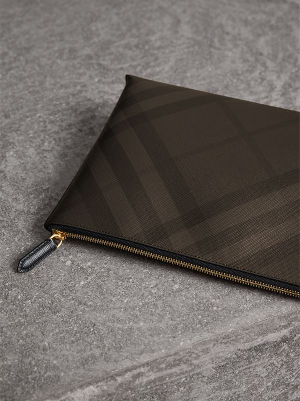 Large London Check Zip Pouch in Chocolate/black | Burberry - cell image 3