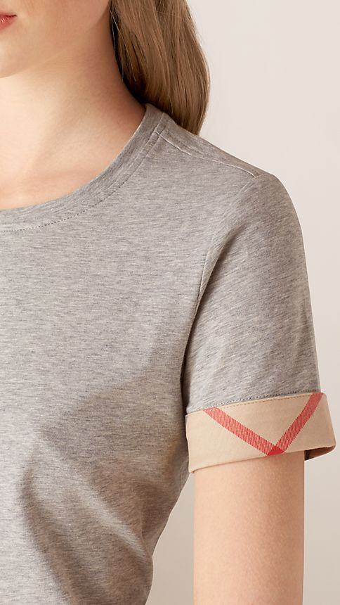 Pale grey melange Check Cuff Stretch Cotton T-Shirt - Image 3