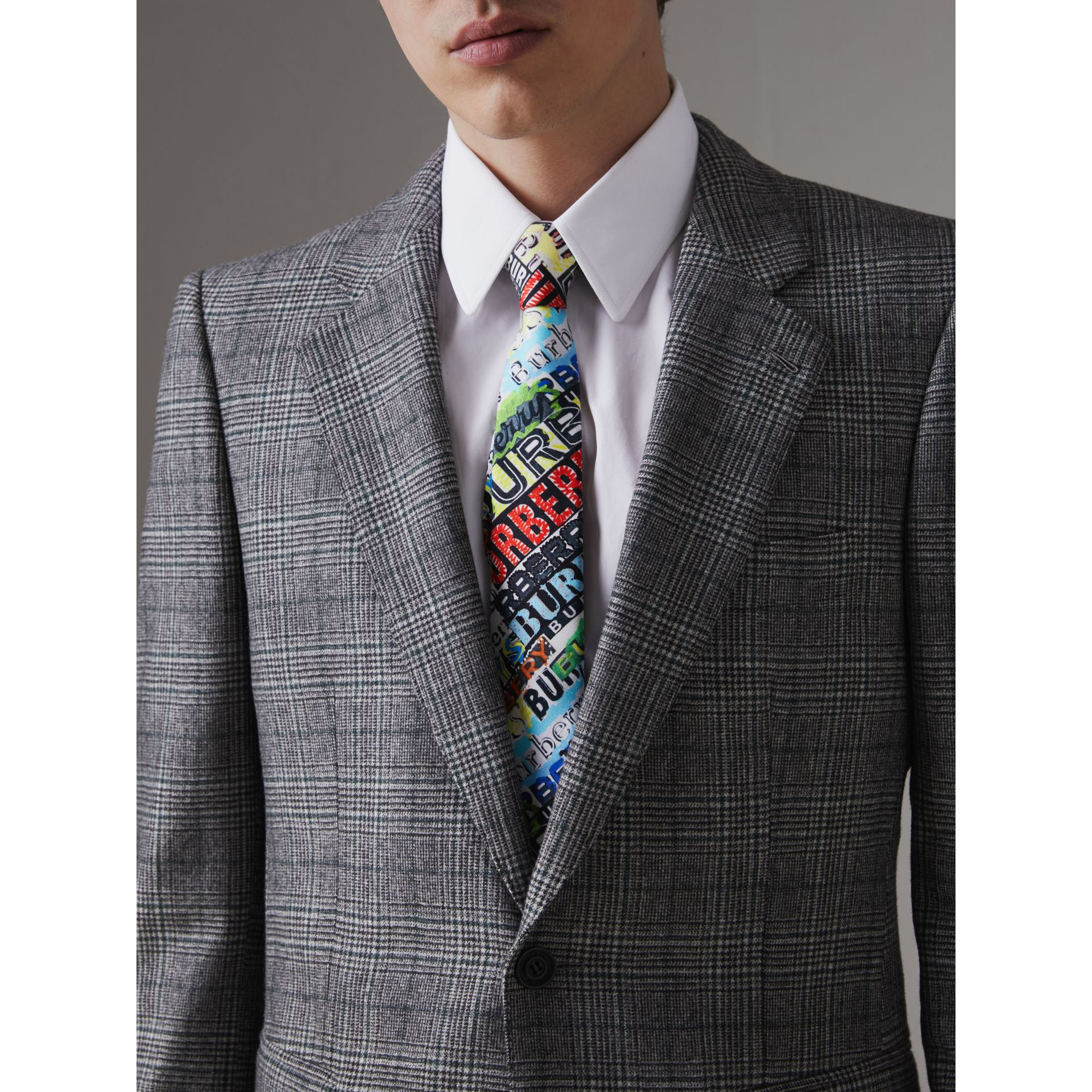 Slim Cut Tag Print Silk Tie in Multicolour - Men | Burberry - gallery image 2