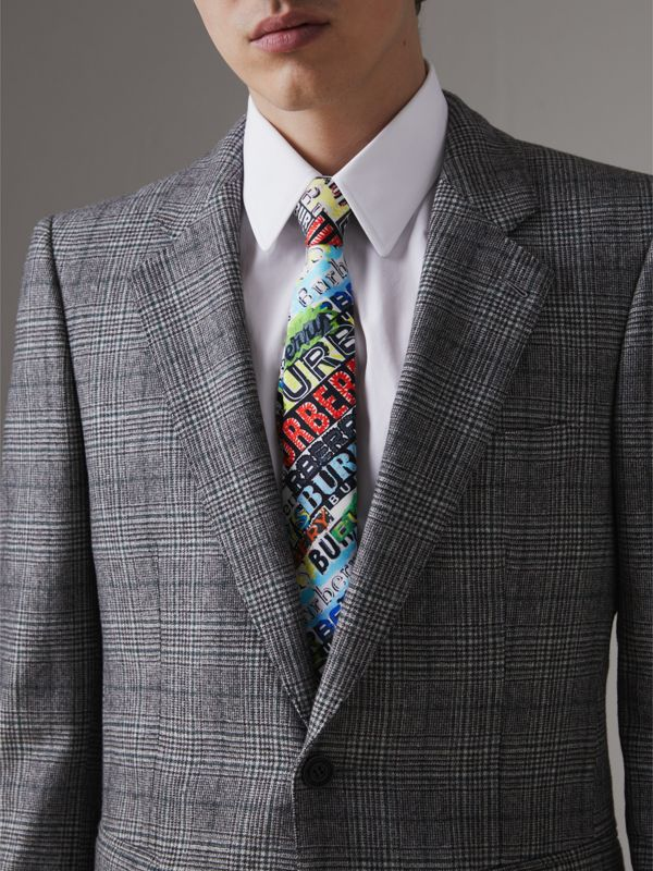 Slim Cut Tag Print Silk Tie in Multicolour - Men | Burberry - cell image 2