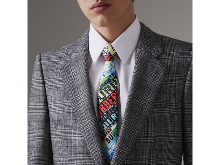 Slim Cut Tag Print Silk Tie in Multicolour - Men | Burberry United States - cell image 2